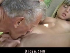 Vest-pocket youth has hot outdoor sex with old man