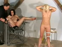 Golden-haired girl gets an enema while the other duo is tied up.