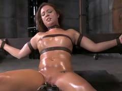Taking brunette trull Maddy OReilly gets restrained added to throat boarded hard