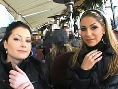 Cute Czech hotties having joy in public places