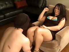 This babe makes male sub engulf on her pants