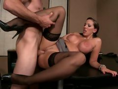 Kelly Divine widening her legs for a valuable office fuck