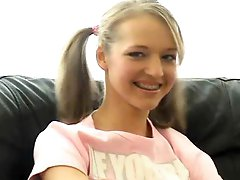 Gorgeous Pigtailed Golden-haired Legal age teenager Dildoes Her Enchanting Cookie