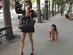 European beauty enslaved in public