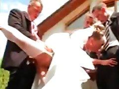 Gang bang of a hawt bride with pissing