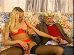 Innocent juvenile blond gets with this aged guy and sucks his weenie
