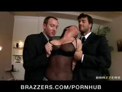 Naughty dark-haired Tory Lane is busted with adult toys and receives her face fucked hard in a gang bang