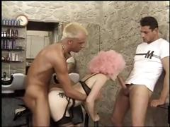 French hairdresser gets a worthy hard ride and DP while customer dries hair