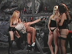 See these three filthy tranny harlots as they dominate this hunky dude....