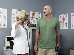Golden-haired Doctor Briana Blair Gets a Thick Facial In High Heels