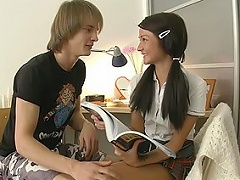 Horny guy came to this enchanting student to help her with the English...