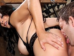 Slave enjoys licking his goddess aperture and being slapped!...
