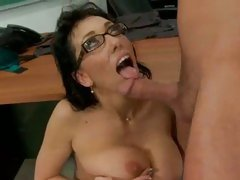 Teacher Alia Janine receives a drink of hot sticky college girl cum in mouth.