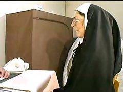 Naugthy nun gets her holes stuffed rough fucking