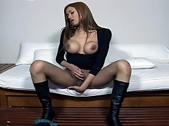 Young Transgender slut grabs and tugs jock then cums on girl all over...