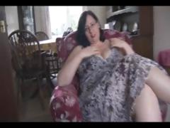 Fat older brunette with giant whoppers and ass sticks dildo in her bawdy cleft