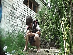 non-professional girl pissing outdoor