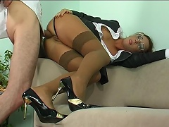 Strict looking office sweetheart takes a hard suggest gagging on meat for...