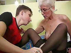 Mature with Silver Hair Glasses and Stockings Wakes the Boyfriend