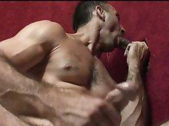 Homo hunk jerks whilst engulfing cock