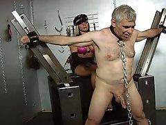 Two slutty slut tortured a older dude !