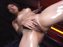 Oiled Japanese Cutie Unclothing And Masturbating (UNcensored)