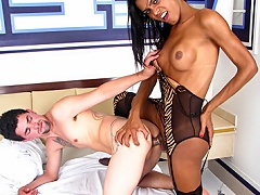 Hot latina shemale enjoys her rod and a rod in her asshole...