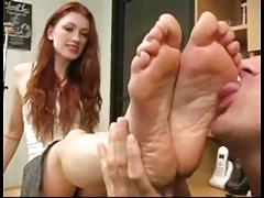 Feet fetish licking