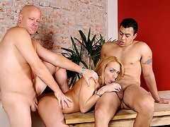 2 chaps share a blond tranny who loves to do... everything!...