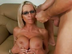 Emma Starr can't live without a hot cum bath all over her huge bumpers