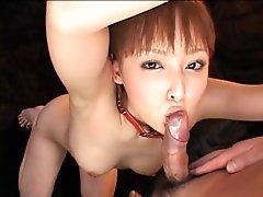 Japanese girl in bondage engulfing and toyed