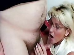 Horny mature blows old school knob deep and hard