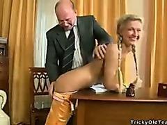 Vintage teacher fellatio creampie