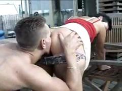 Amateur From Germany raven-haired gets on her knees to suck and gets nailed