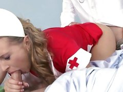 Naughty nurse drilled by M.D. as this babe sucks off patient
