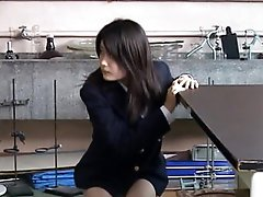 Perverted Oriental Legal age teenager Takes Off Her School Uniform and Her Panties in the Lab