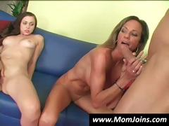 Mamma shows daughter how to engulf a cock the right way and acquires pussy licked