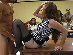Lustful Office cuties getting dirty with male striper