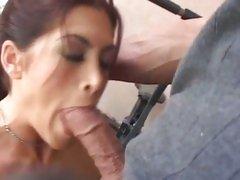 Hottie Aria wraps her juicy lips around a giant knob