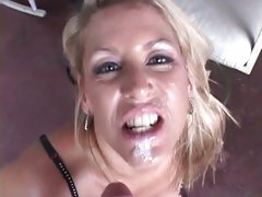 Adorable Chelsea Zinn acquires her face splattered with cum