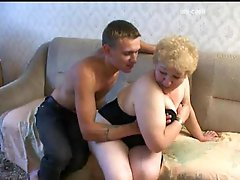 Aged fingered and fucked from behind in her fat pussy