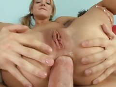 Naughty bitch Amy Brooke receives her tight booty packed with thick cock and drilled