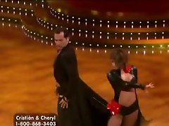 Boner-Inducing Honey Cheryl Burke Dancing In a Constricted Leather Dress