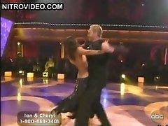 Ebony Beauty Cheryl Burke Dancing In a Revealing Dark Dress