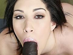 Large arse white slut Vanessa James takes a massive dark dick in her...