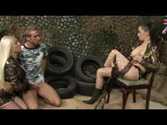 British sluts Cindy B and Kaia K in a FFM 3some