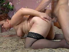 X-rated mamma lets a muscle guy hike up her petticoat for a from-behind...