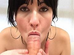 Horny 18 year old spanish Tamara Persia sucks a stiff cock...