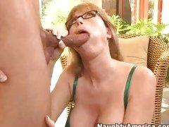 Blond milf Darla Crane opening her mouth with for a overweight dick insertion