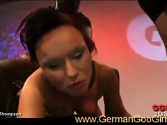 Nasty raven-haired german floozy serving giant weenies in hot gang team fuck